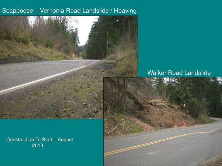 Scappoose – Vernonia Road Landslide / Heaving