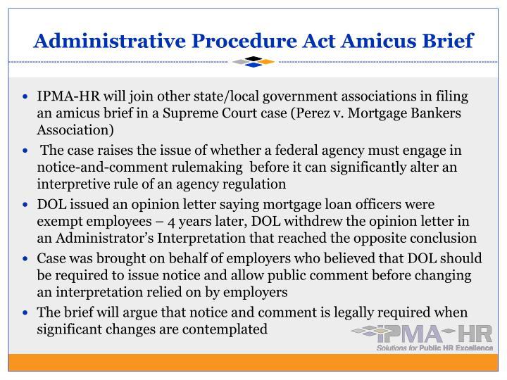 Administrative Procedure Act Amicus Brief