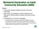 ministerial declaration on adult community education 2002