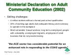 ministerial declaration on adult community education 20021