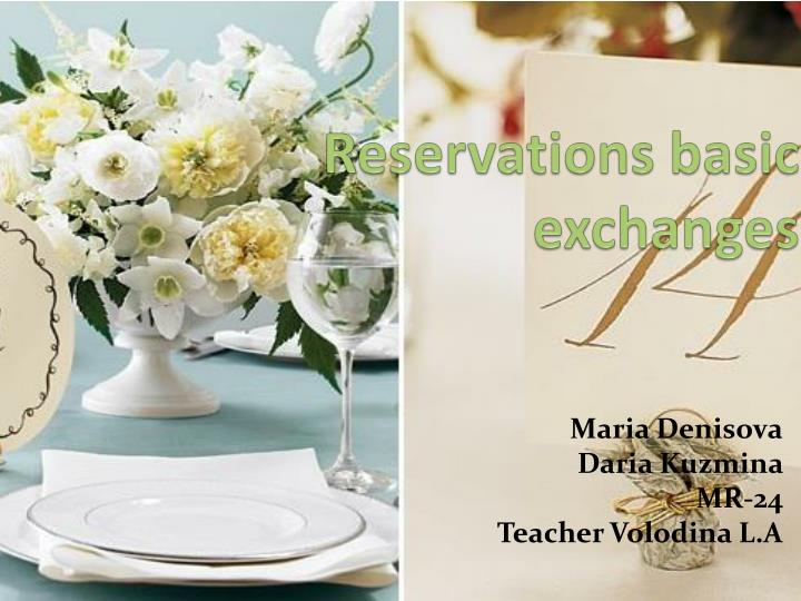 reservations basic exchanges n.