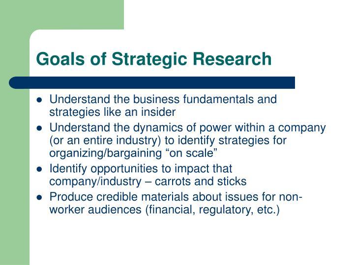 Goals of Strategic Research