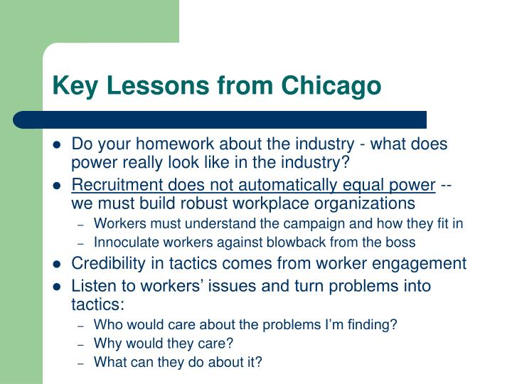Key Lessons from Chicago