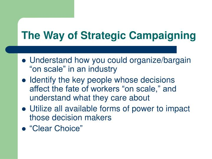 The Way of Strategic Campaigning
