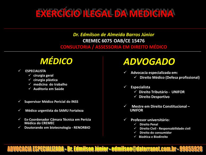 Exerc cio ilegal da medicina