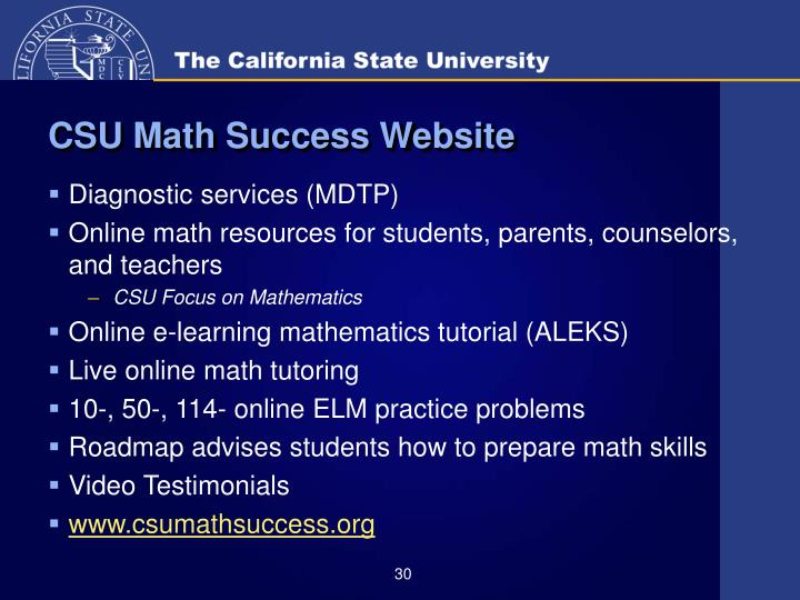 CSU Math Success Website