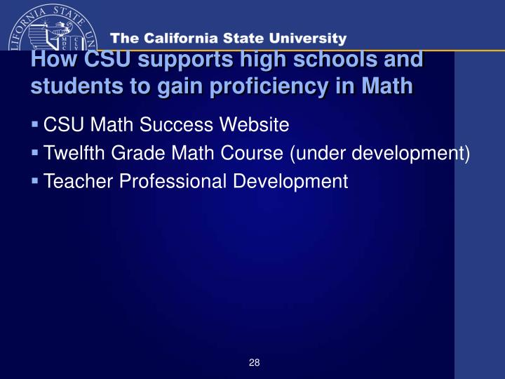 How CSU supports high schools and students to gain proficiency in Math