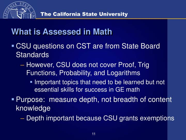 What is Assessed in Math