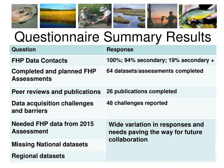 Questionnaire Summary Results