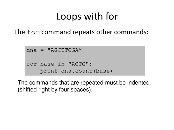 Loops with for