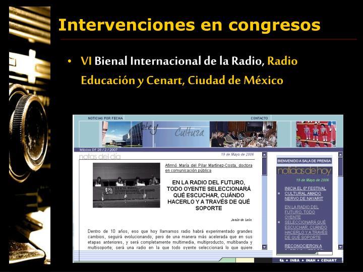 Intervenciones en congresos