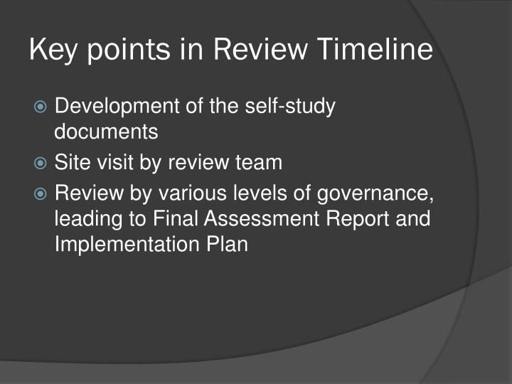 Key points in Review Timeline