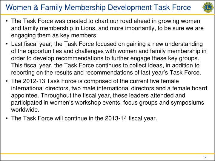 Women & Family Membership Development Task Force