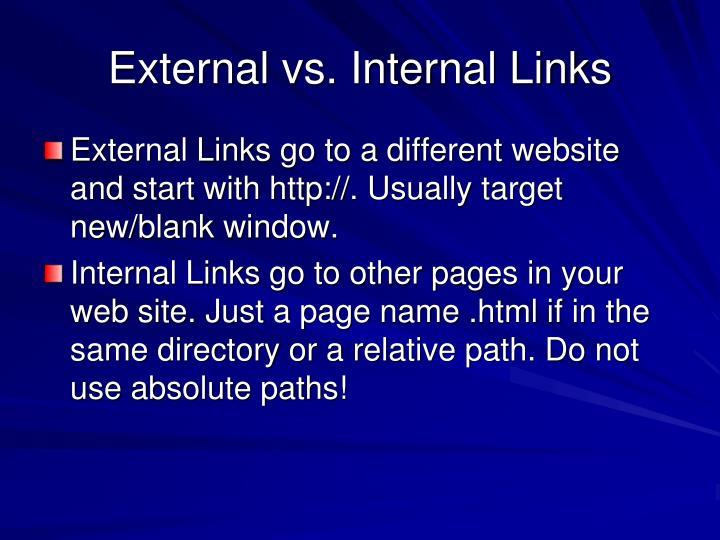 External vs. Internal Links