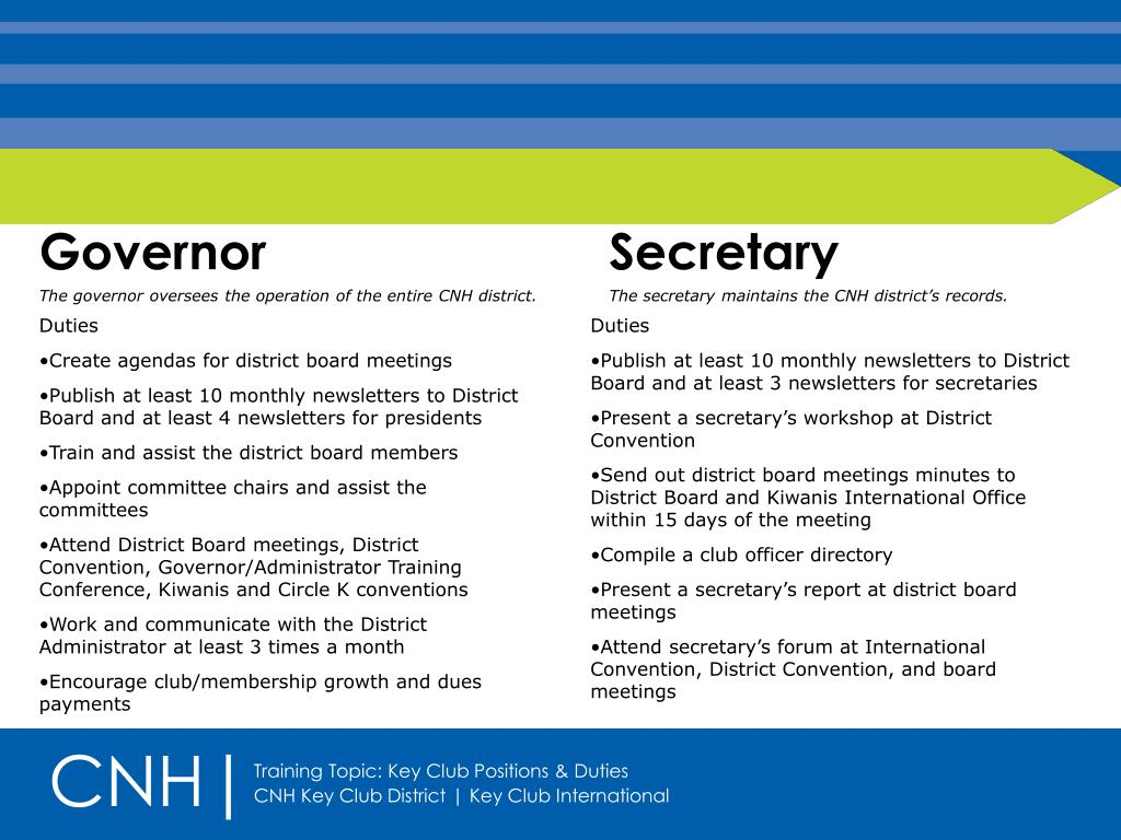 PPT - Key Club Positions & Duties PowerPoint Presentation