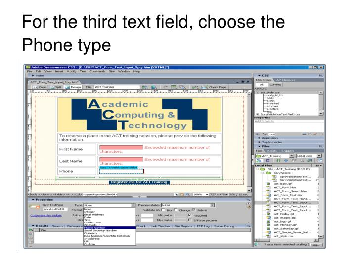 For the third text field, choose the Phone type