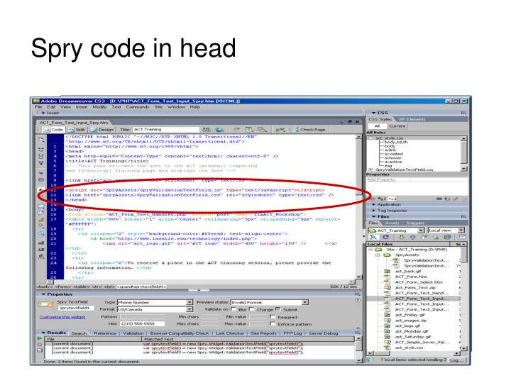 Spry code in head