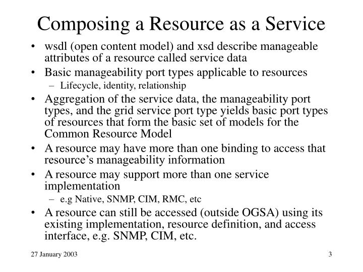 Composing a resource as a service