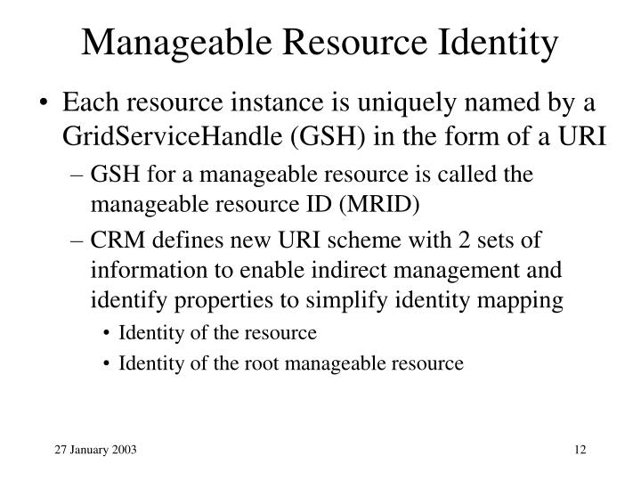 Manageable Resource Identity