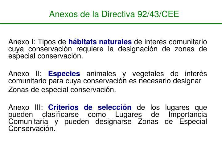 Anexos De La Directiva 92 43 CEE