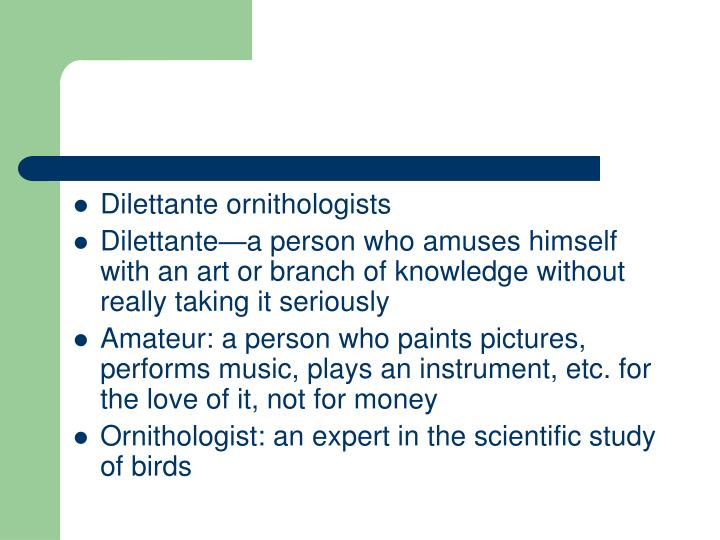 Dilettante ornithologists
