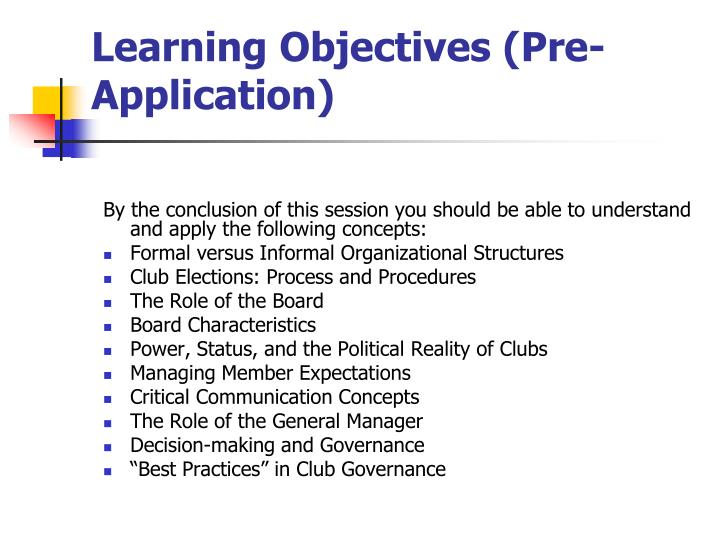 Learning objectives pre application