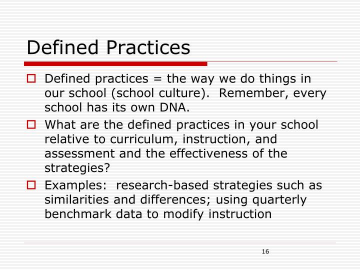 Defined Practices