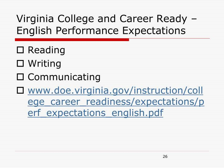 Virginia College and Career Ready – English Performance Expectations