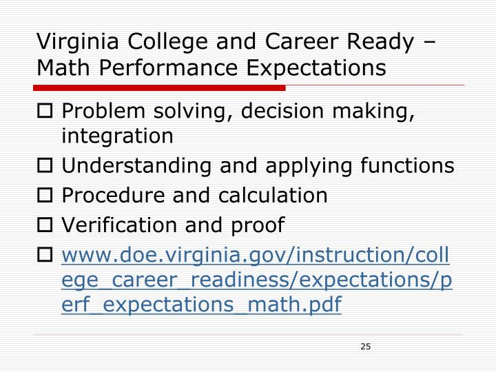 Virginia College and Career Ready – Math Performance Expectations