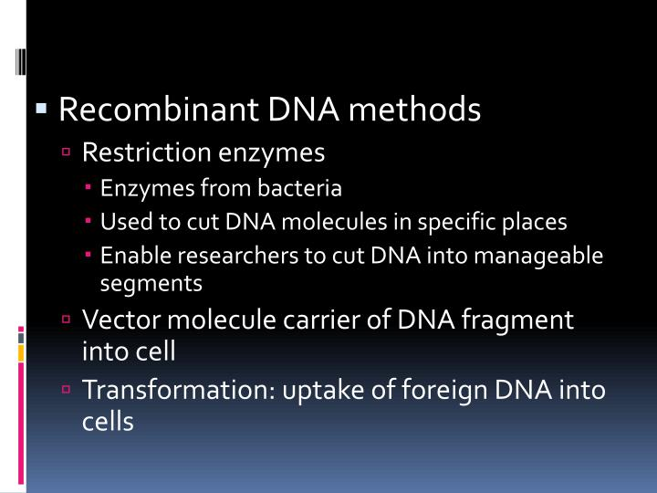 Recombinant DNA methods