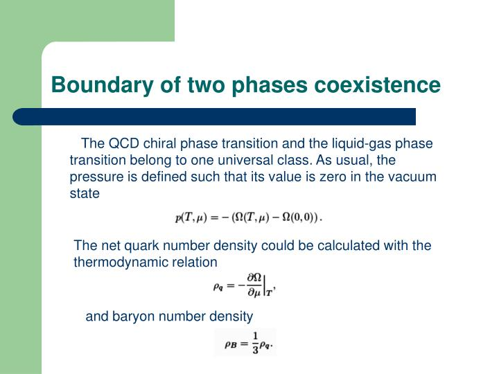 Boundary of two phases coexistence