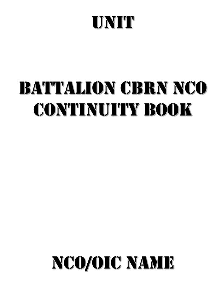 ppt unit battalion cbrn nco continuity book nco oic name