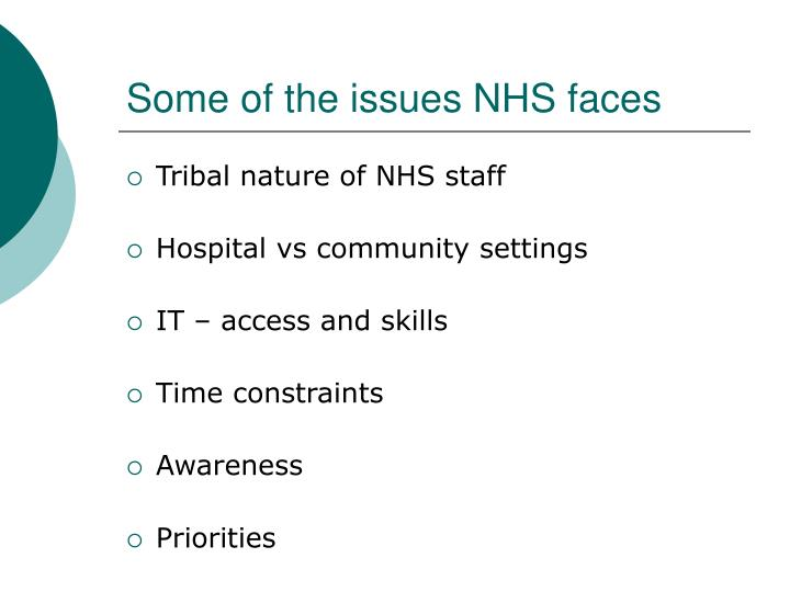 Some of the issues NHS faces