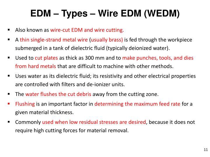 EDM – Types – Wire EDM (WEDM)