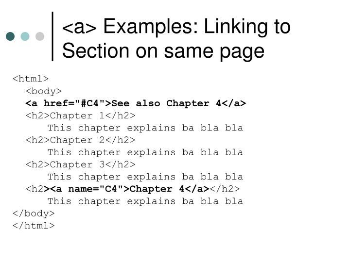 <a> Examples: Linking to Section on same page