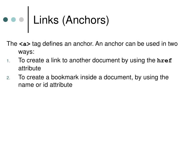 Links (Anchors)
