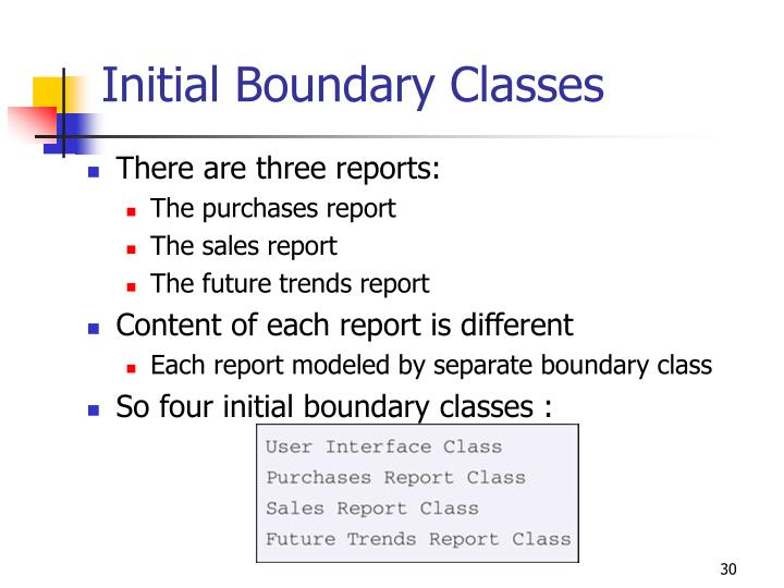 Initial Boundary Classes