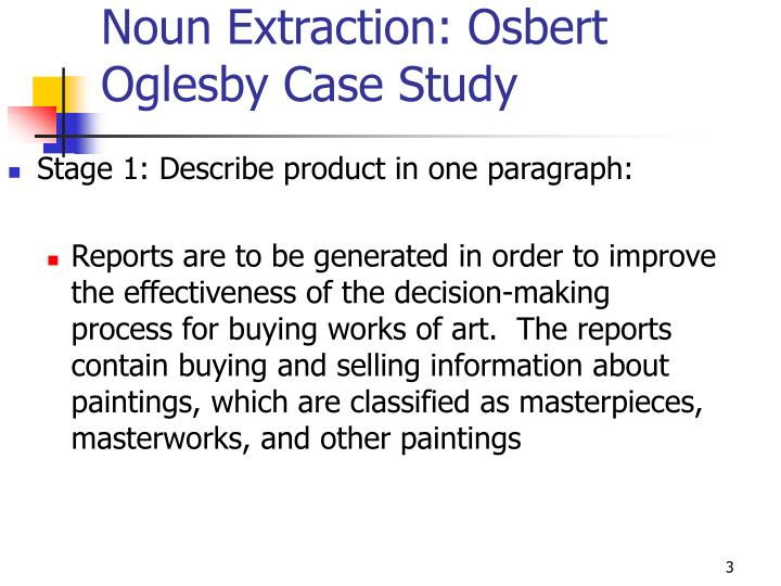 Noun extraction osbert oglesby case study