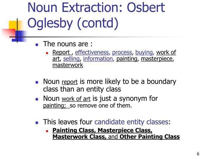 Noun Extraction: Osbert Oglesby (contd)