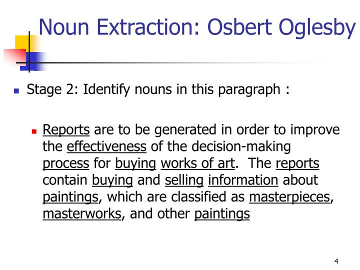 Noun Extraction: Osbert Oglesby