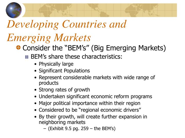 Developing Countries and Emerging Markets