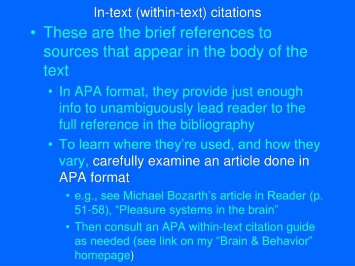 In-text (within-text) citations