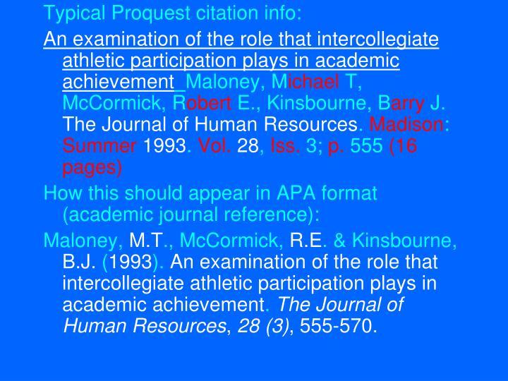 Typical Proquest citation info: