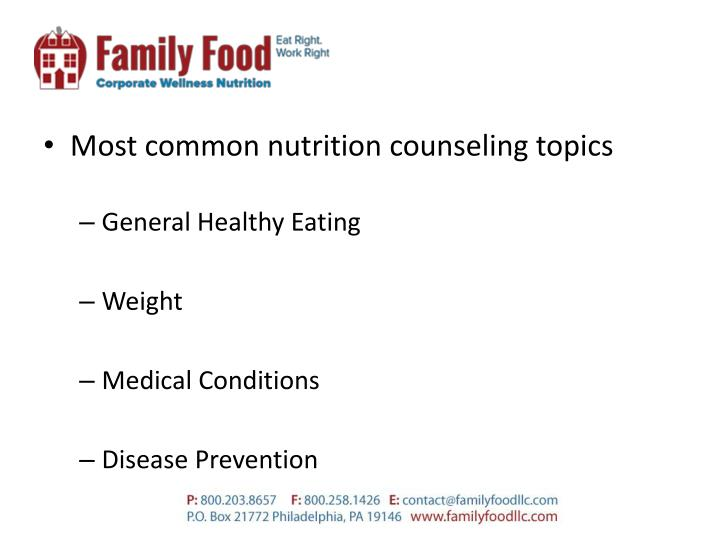 Most common nutrition counseling topics