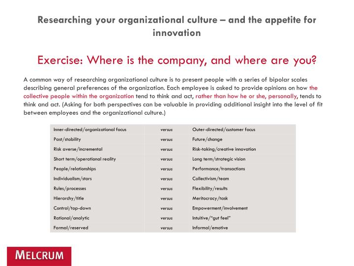 Researching your organizational culture – and the appetite for innovation
