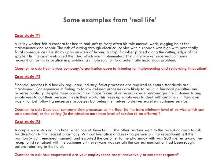 Some examples from 'real life'