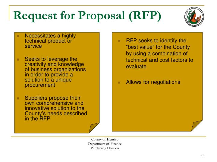 request for proposal vs invitation for bid Best answer: the terms invitation to bid (or invitiation to tender - itt) and request for proposal (rfp) are often used interchangeably itt is usually for less complex projects where you are primarily request a price quote for a clearly determined project.