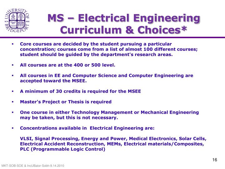 MS – Electrical Engineering Curriculum & Choices*