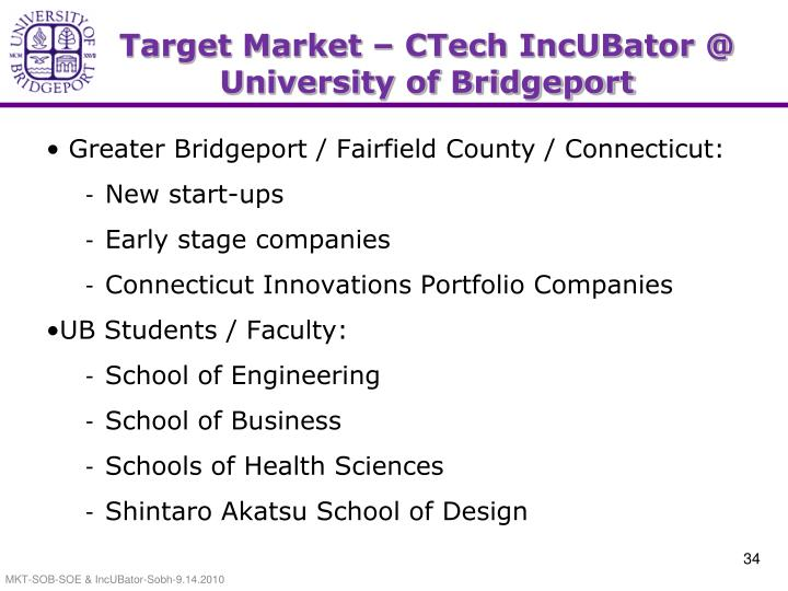 Target Market – CTech IncUBator @ University of Bridgeport