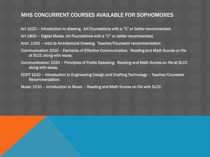 MHS Concurrent Courses available for Sophomores